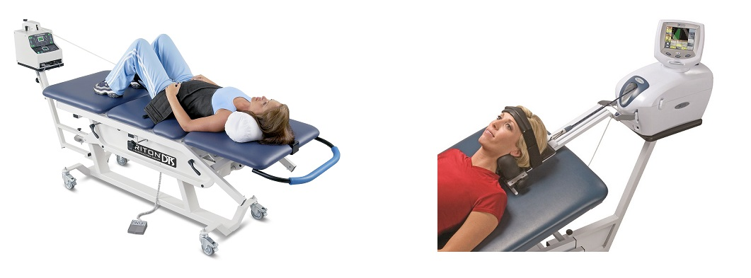 women receiving neck and back decompression therapy