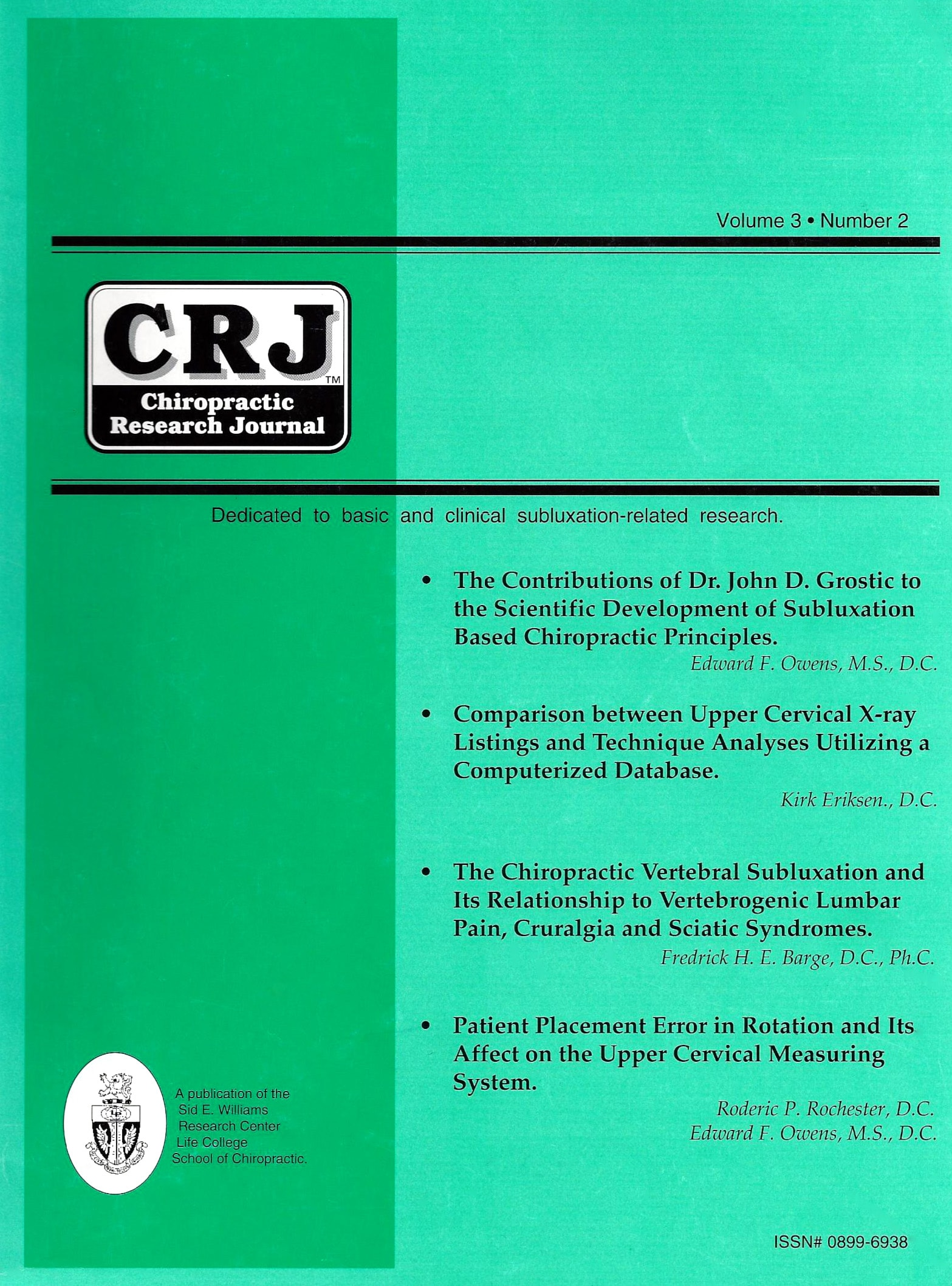 Chiropractic Research Journal Volume 3 Number 2